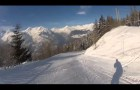 Skiing from Les Arc 1600 to Courbaton village in less than 2 minutes!